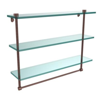 22 in. L  x 18 in. H  x 5 in. W 3-Tier Clear Glass Bathroom Shelf with Towel Bar in Antique Copper