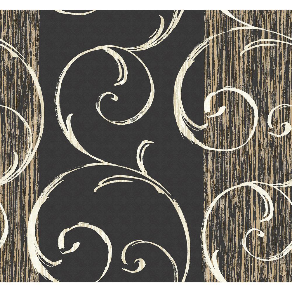 Notting Hill Metallic Gold and Ebony Swirl Wallpaper