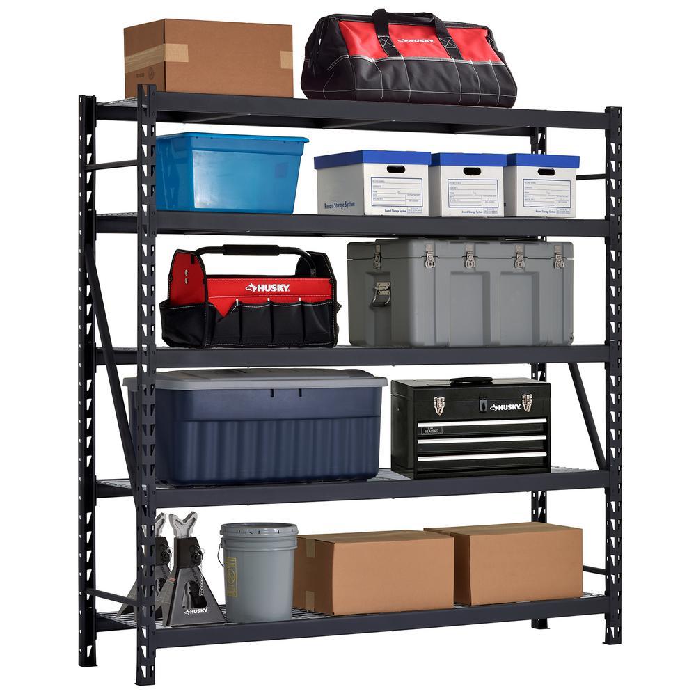 90 in. W x 90 in. H x 24 in. D 5-Shelf Welded Steel Garage Storage Shelving Unit with Wire Deck in Black