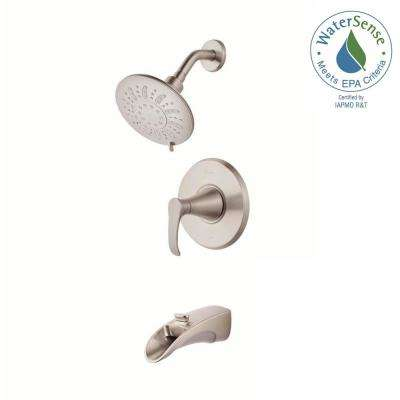 Brea Single-Handle 3-Spray Tub and Shower Faucet in Brushed Nickel with Waterfall Spout (Valve Included)