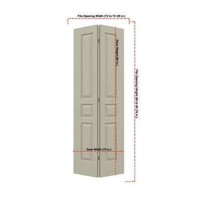 36 in. x 80 in. Avalon Desert Sand Painted Textured Hollow Core Molded Composite MDF Closet Bi-fold Double Door