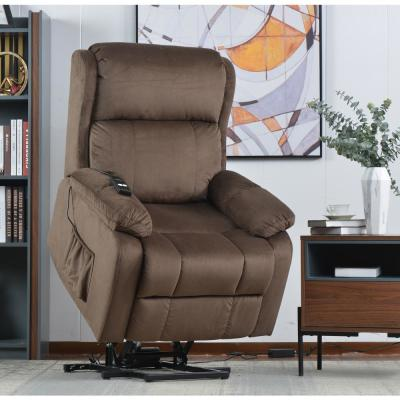 Brown Soft Fabric Upholstery Power Lift Chair with Remote