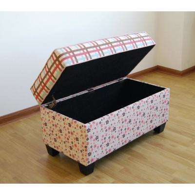 Plaid and Floral Pink Storage Bench