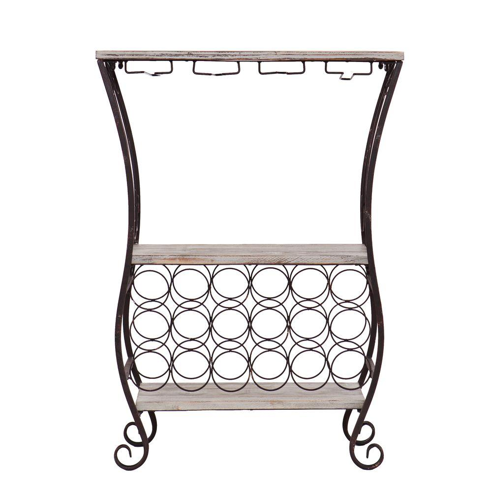 Cathy 18-Bottle Gray Floor Wine Rack
