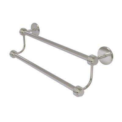 Satellite Orbit Two 30 in. Double Towel Bar with Groovy Accent in Satin Nickel