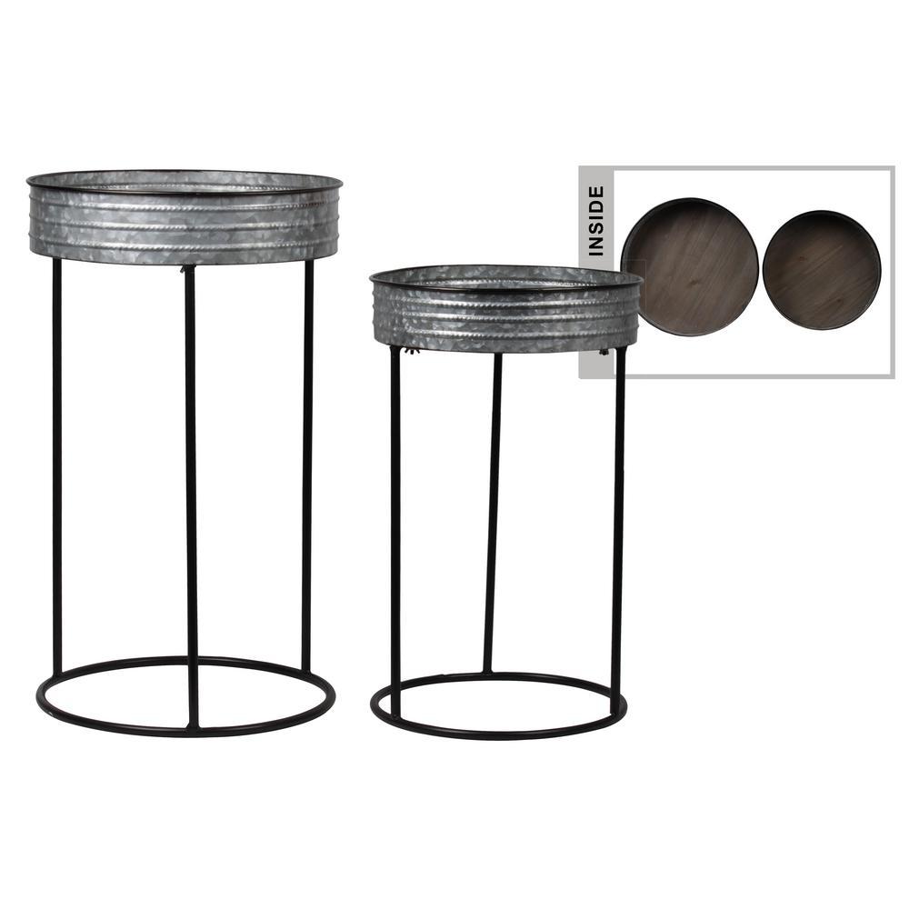 Gray Metal Decorative Tray (Set of 2)