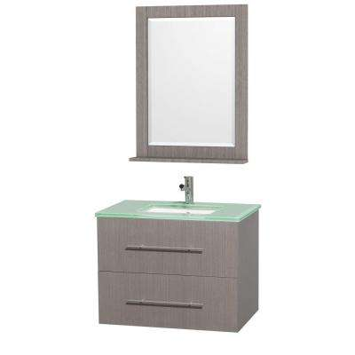 Centra 30 in. Vanity in Grey Oak with Glass Vanity Top in Aqua and Square Porcelain Undermounted Sink