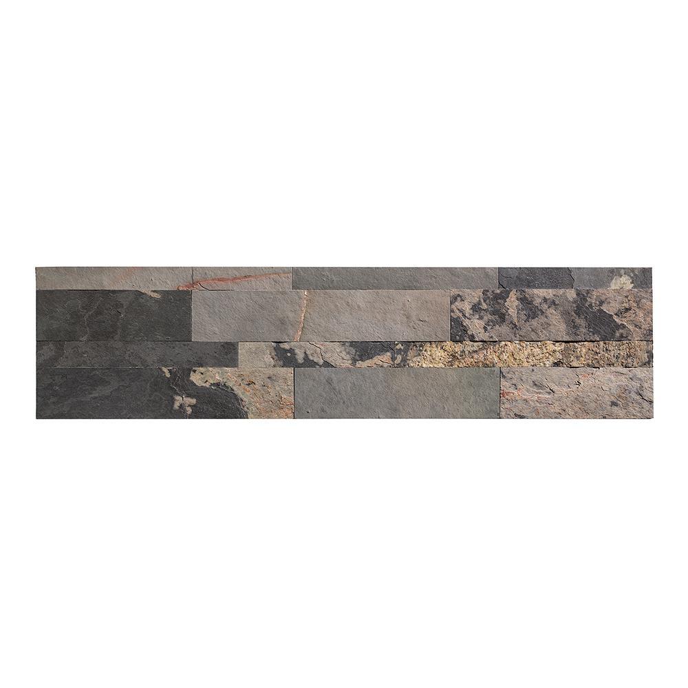 24 in. x 6 in. Peel and Stick Stone Decorative Backsplash in Medley Slate