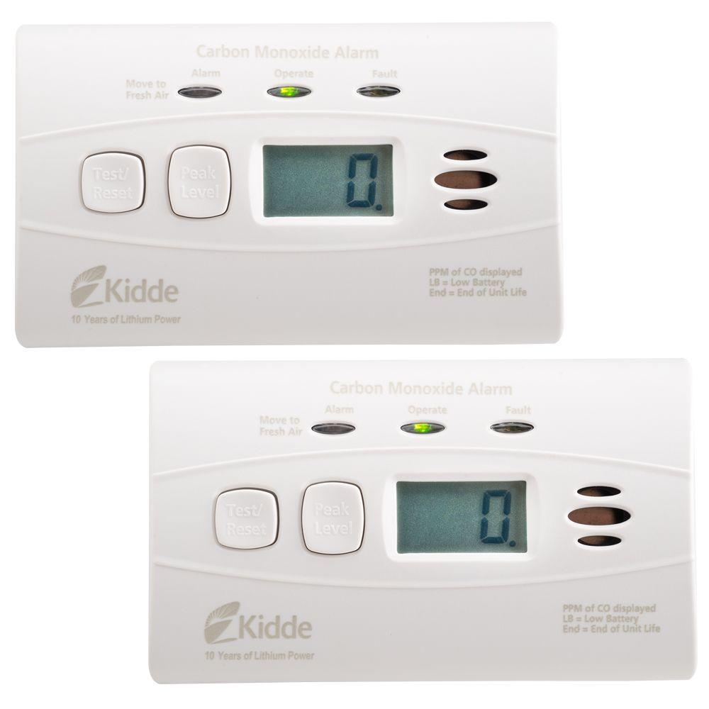KIDDE Kidde Worry Free 10-Year Lithium Battery Carbon Monoxide Detector with Digital Display (2-pack)