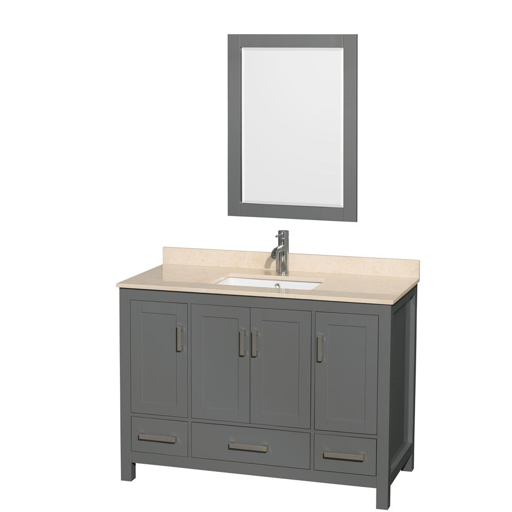 Sheffield 48 in. W x 22 in. D Vanity in Dark Gray with Marble Vanity Top in Ivory with White Basin and Mirror