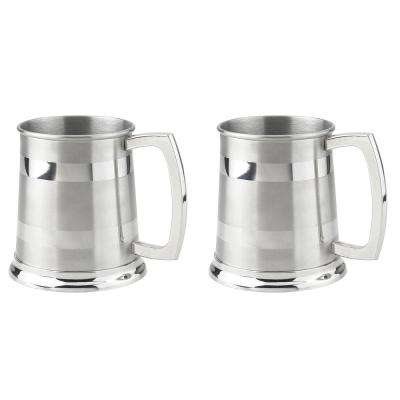 Dual 16 oz. Stainless Steel Satin Finish Beer Mugs (Set of 2)