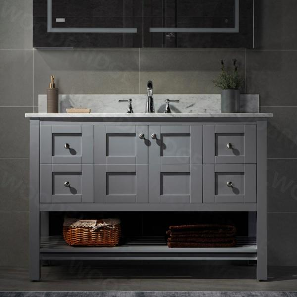 Woodbridge Sydney 48 In W X 22 In D Bath Vanity In Grey With Carrara Marble Vanity Top In Carra White With White Sink Syd 4821 Grey The Home Depot