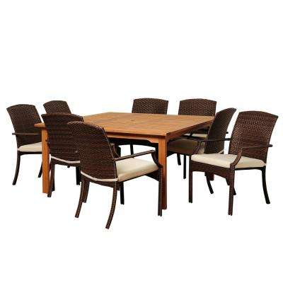 Warner 9-Piece Wood Outdoor Dining Set with Beige Cushions