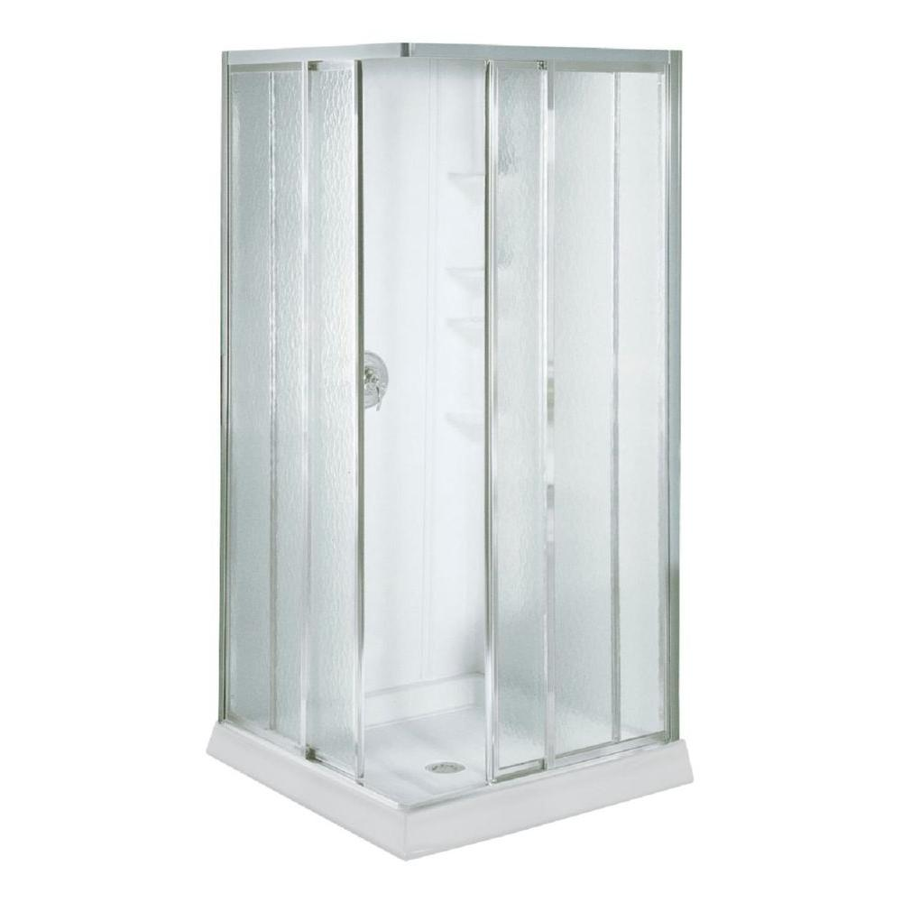 STERLING Economy 32 in. x 32 in. x 72 in. Corner Shower Kit with Shower Door in White/Silver