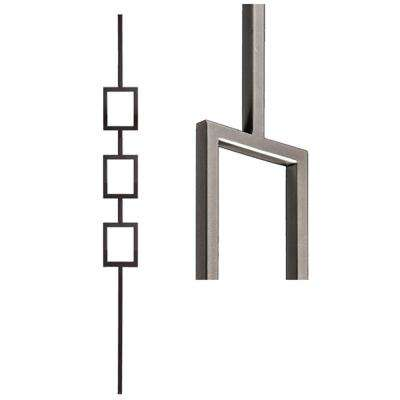 Aalto Modern 44 in. x 0.5 in. Ash Grey Triple Rectangle Hollow Wrought Iron Baluster