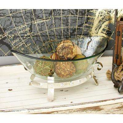 Clear Glass Boat-Shaped Decorative Bowl with Silver Iron Scrolled Stand