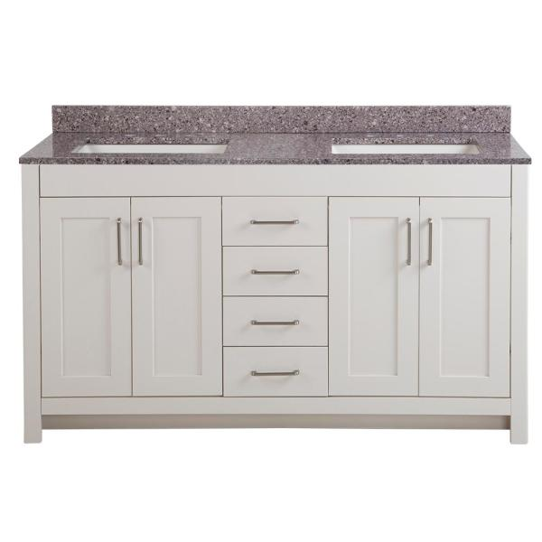 Westcourt 61 in. W x 22 in. D Bath Vanity in Cream with Stone Effect Vanity Top in Mineral Gray with White Sink