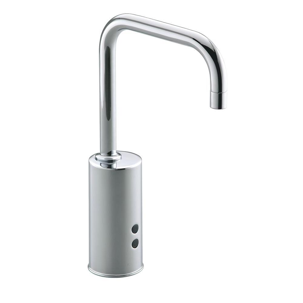 Geometric Commercial Battery-Powered Single Hole Touchless Bathroom Faucet in