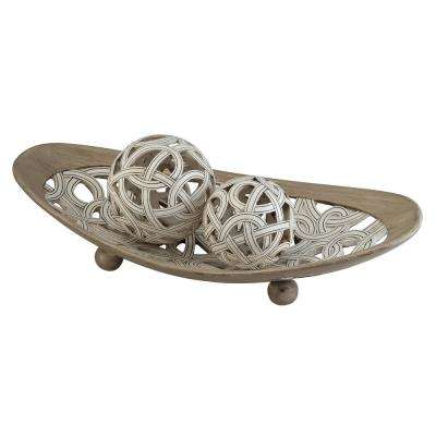 Ivory And Beige Carved Strings Polyresin Decorative Plate With Spheres