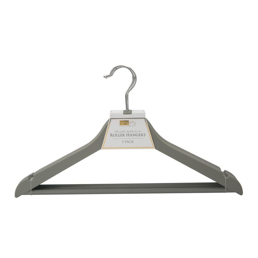 Rubberized Wood-like Sturdy Roller Hanger (3-Pack)