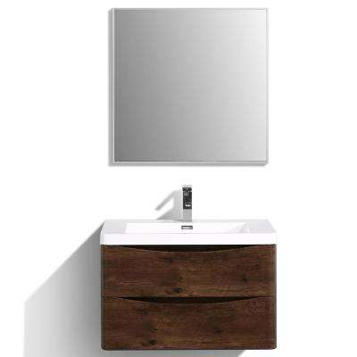 Smile 30 in. W x 20 in. D x 21 in. H Vanity in White with Acrylic Vanity Top in Rosewood with White Basin