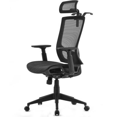 Black Mesh Office Chair with Adjustable Headrest and Armrests