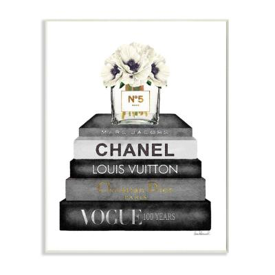 """Fashion Designer Flower Bookstack Black And White Watercolor""by Amanda Greenwood Wood Wall Art 15 in. x 10 in."