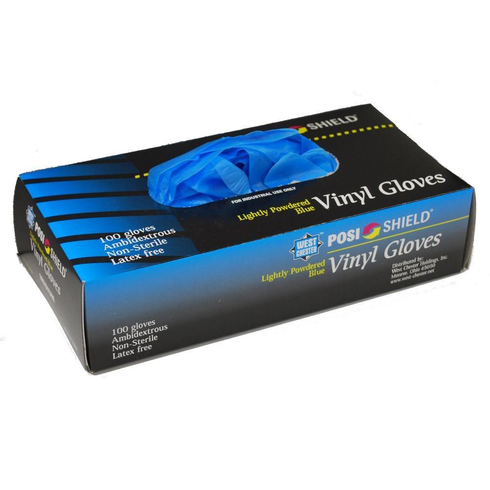 Powder Vinyl Blue Gloves, XXLarge - 100 Ct. Box, sold by the case
