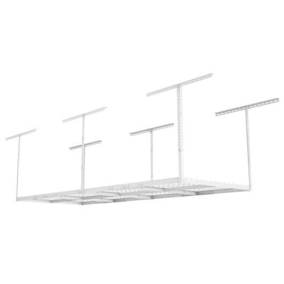 8 ft. x 3 ft. Heavy-Duty Overhead Garage Adjustable Ceiling Storage Rack in White
