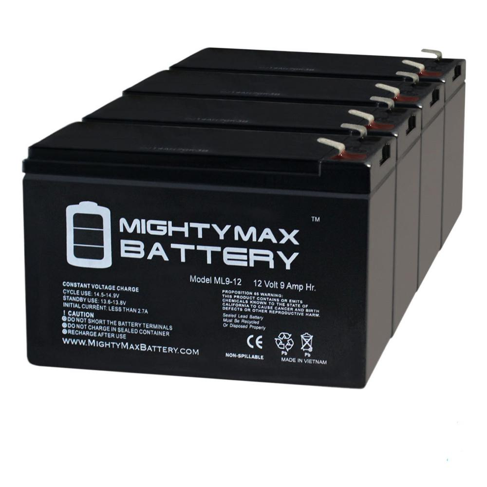 MIGHTY MAX BATTERY 12-Volt 9 Ah SLA (Sealed Lead Acid) AGM Type Replacement Battery (4-Pack)