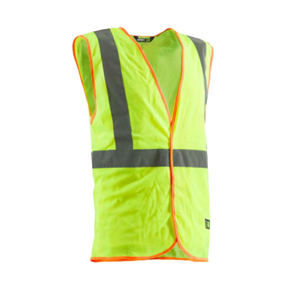 Men's Large Yellow Polyester Mesh Hi-Visibility Economy Vest