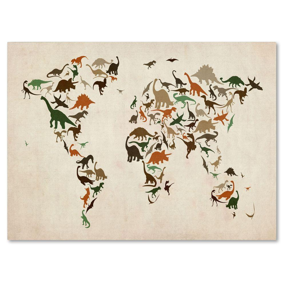 "Trademark Fine Art 14 in. x 19 in. ""Dinosaur World Map 2"" Canvas Art"