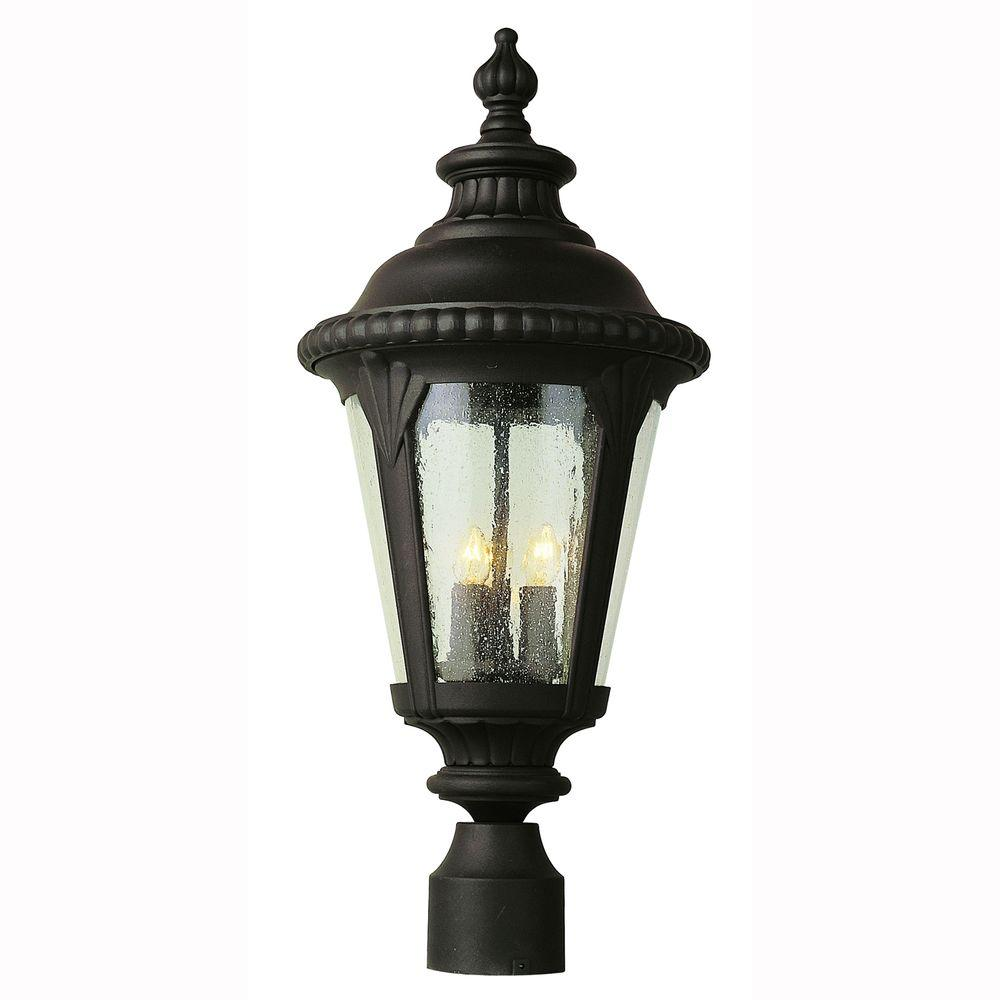 Breeze Way 3-Light Outdoor Black Post Top Lantern with Seeded Glass