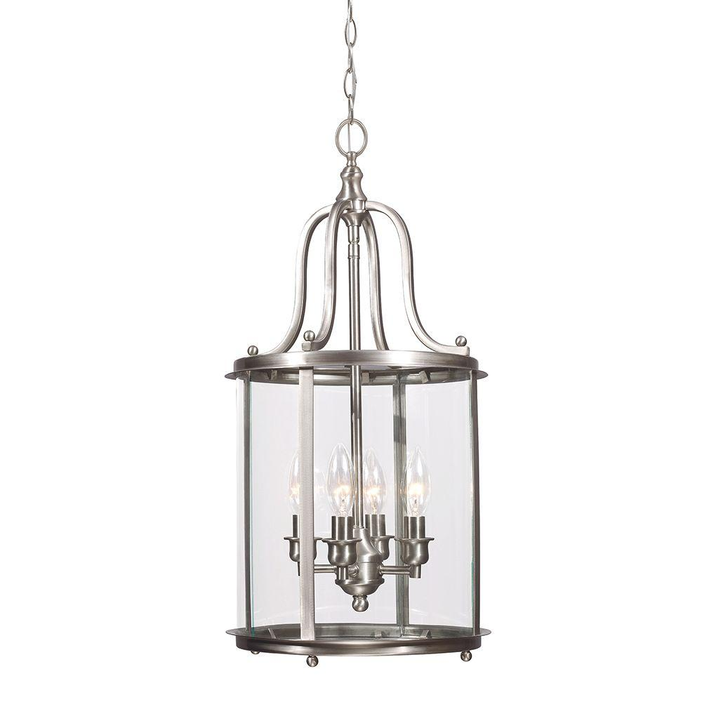 Sea Gull Lighting Gillmore 4-Light Brushed Nickel Hall/Foyer Lantern with Clear Glass