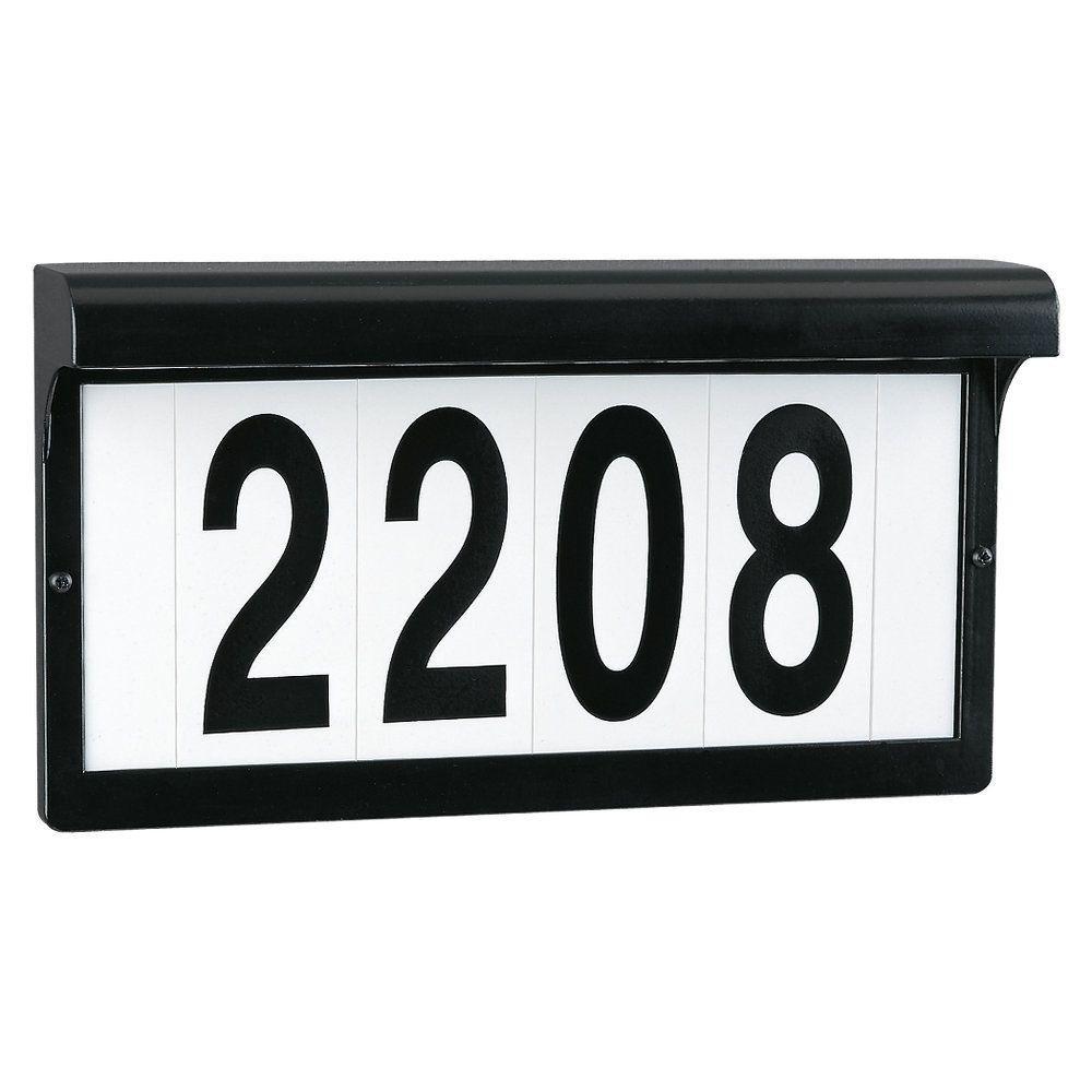 black powdercoat aluminum address sign light fixture