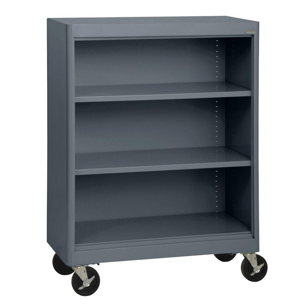 2-Shelf Radius Edge Charcoal Mobile Steel Bookshelf
