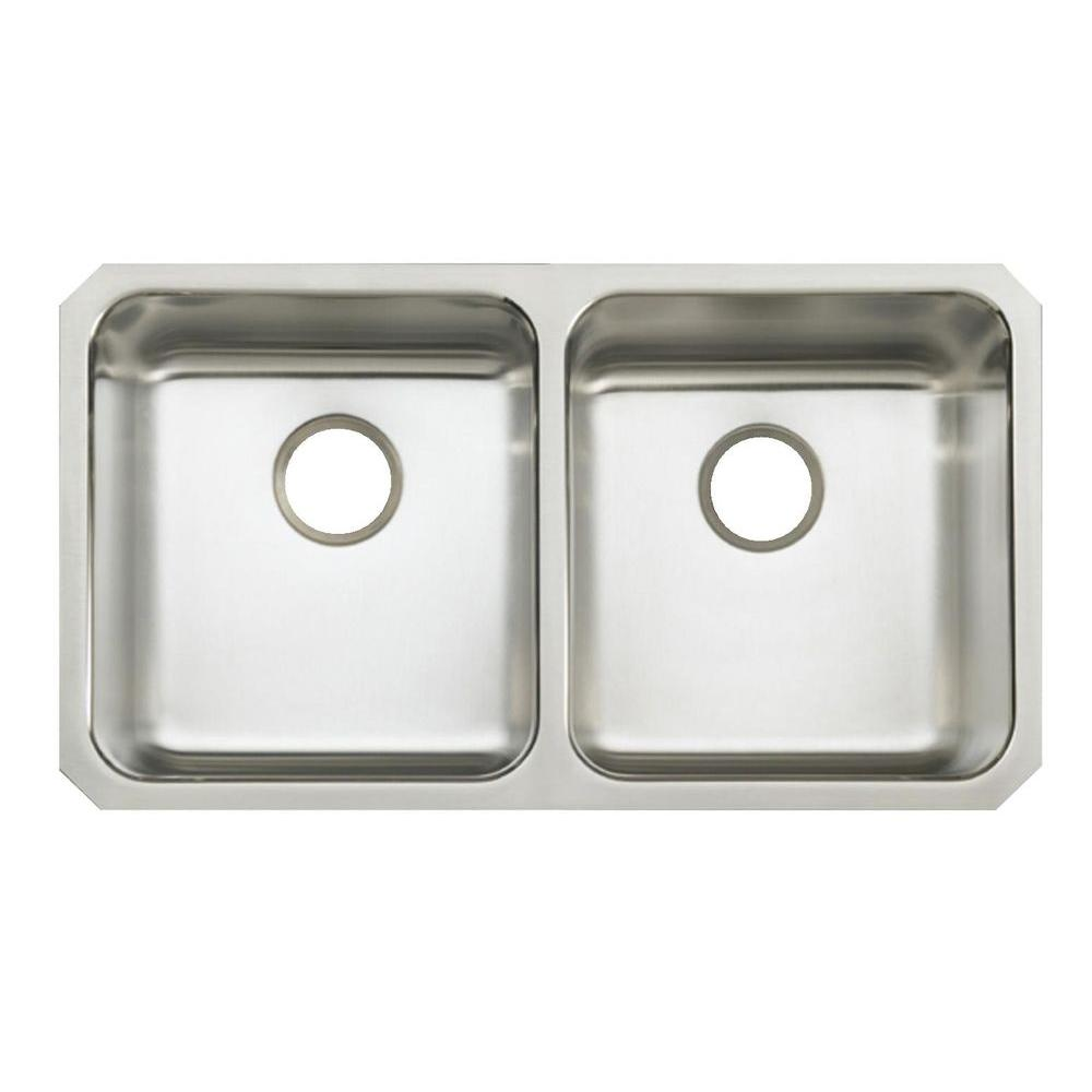 Undertone Undermount Stainless Steel 32 in. Double Bowl Kitchen Sink