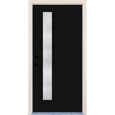 36 in. x 80 in. Inkwell Right-Hand 1 Lite Rain Glass Painted Fiberglass Prehung Front Door with Brickmould