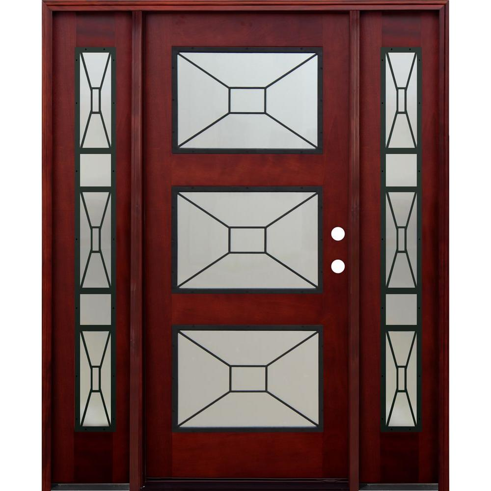 Pacific Entries 66 in. x 80 in. 3 Lite Mistlite Stained Mahogany Wood Prehung Front Door w/ Grille, 12 in. Sidelites & 6 in. Wall Series