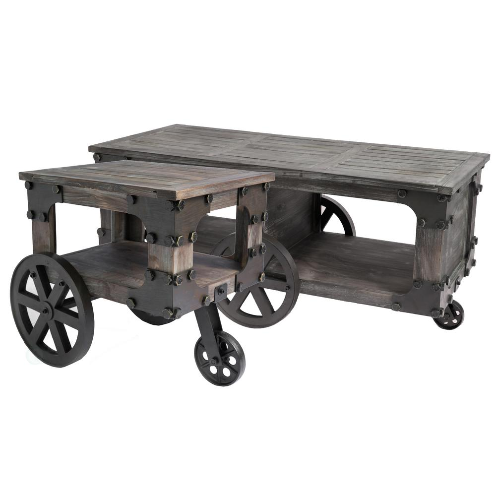 Vintiquewise Rustic Industrial Wagon Style Coffee End