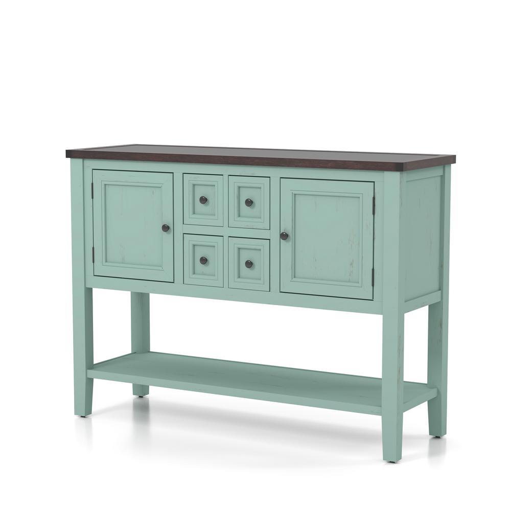 Sante Antique Blue and Dark Walnut 2-Cabinet Door Entry Console Table