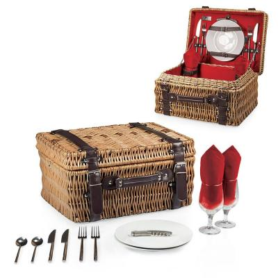 Champion Wood Red Picnic Basket with Brown Leatherette Straps