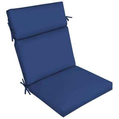 Lapis Canvas Texture Outdoor High Back Dining Chair Cushion