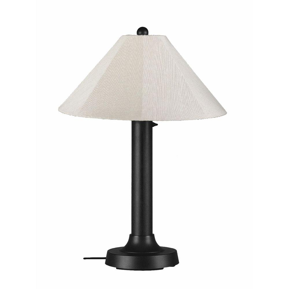 Catalina 34 in. Black Outdoor Table Lamp with Canvas Linen Shade