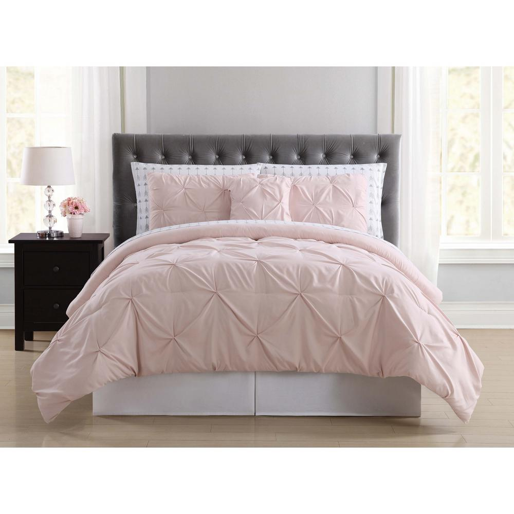 Truly Soft Arrow Pleated Blush Twin Xl Bed In A Bag