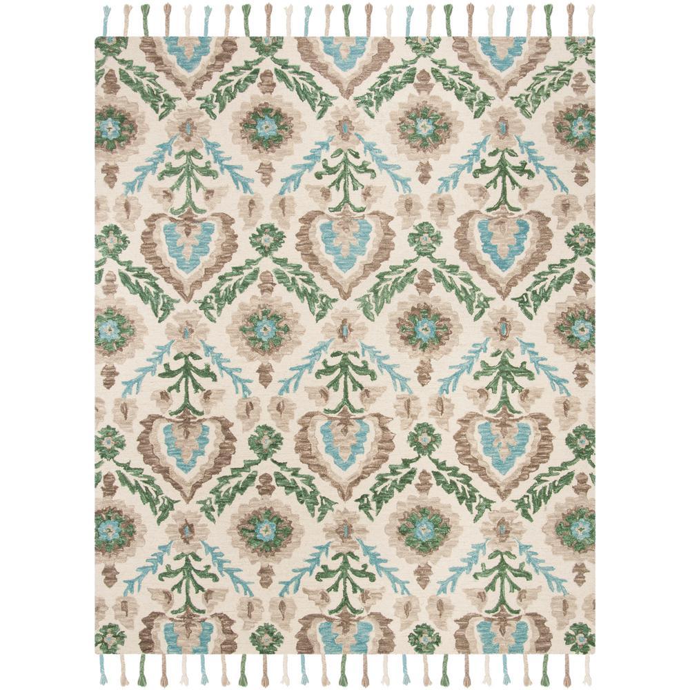 Safavieh Wyndham Turquoise Green 8 Ft X 10 Ft Area Rug: Safavieh Suzani Ivory/Turquoise 8 Ft. X 10 Ft. Area Rug