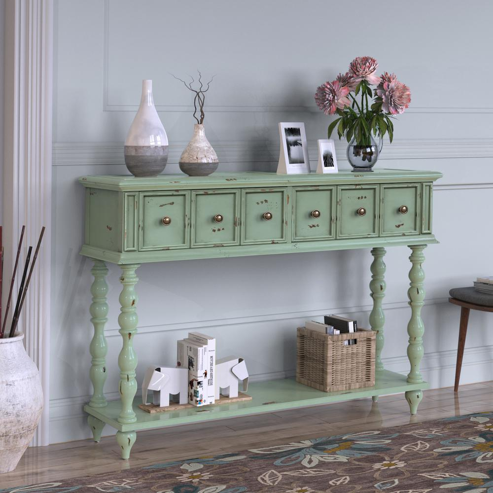 Harper & Bright Designs Green Rustic Console Table with Drawers and Bottom Shelf was $399.99 now $281.25 (30.0% off)