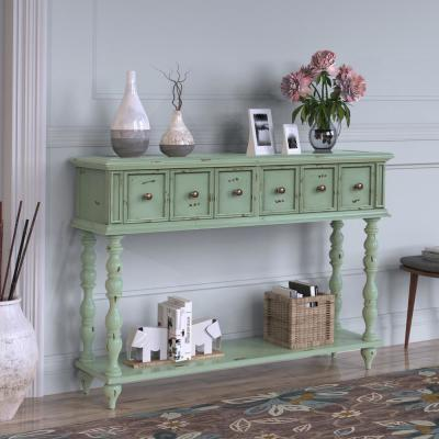 Green Rustic Console Table with Drawers and Bottom Shelf