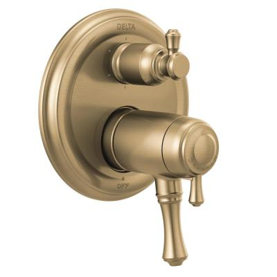 Cassidy 2-Handle Wall-Mount Valve Trim Kit with 6-Setting Integrated Diverter in Champagne Bronze (Valve not Included)