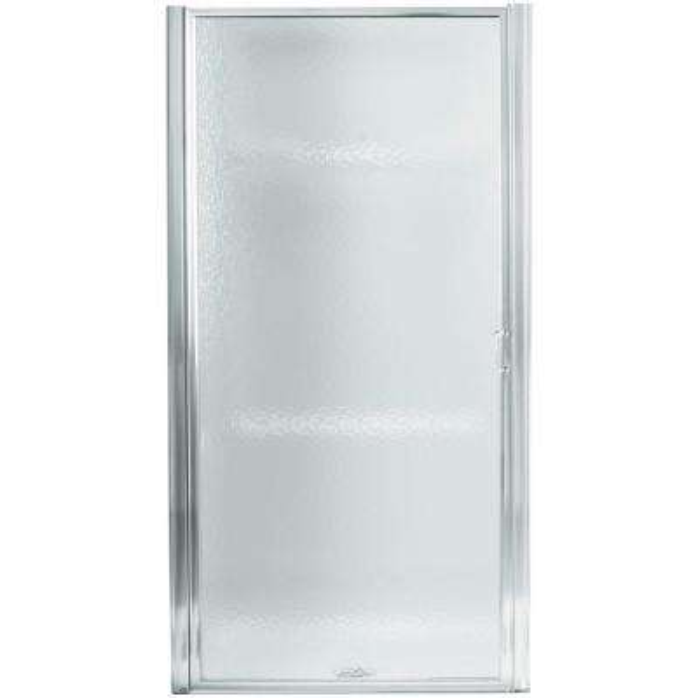 Standard 32-1/2 in. x 64 in. Framed Pivot Shower Door in Silver with Handle